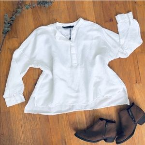 NWOT Zara White Linen Oversized Blouse